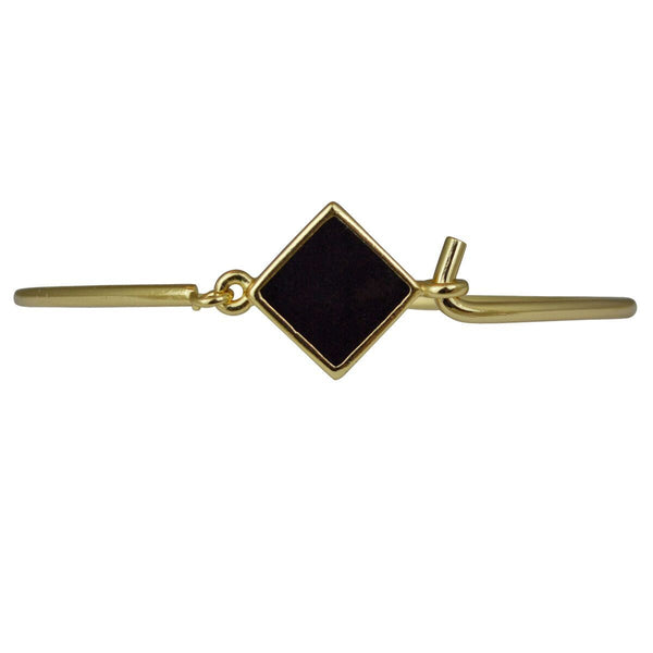 "Hinged Wire Bangle - Black Clasp (Goldtone) Ritzy ""Couture Select"""