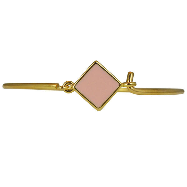 Hinged Wire Bangle - Pink Clasp (Goldtone) Ritzy Couture