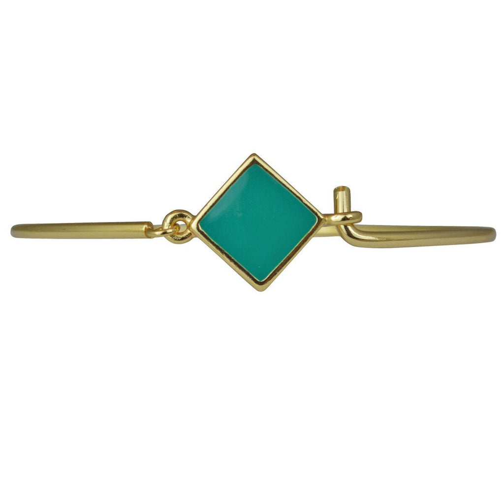 Hinged Wire Teal Clasp Bangle For Women - Bangle Bracelet