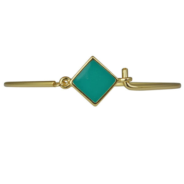 "Hinged Wire Bangle - Teal Clasp (Goldtone) Ritzy ""Couture Select"""