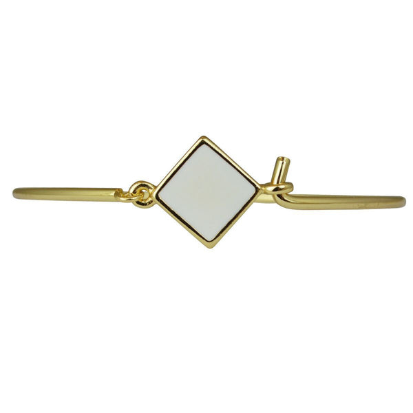 "Hinged Wire Bangle - White Clasp (Goldtone) Ritzy ""Couture Select"""