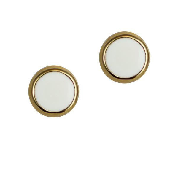 "White Enamel Stud Earring Set - Posts (Goldtone) Ritzy ""Couture Select"""