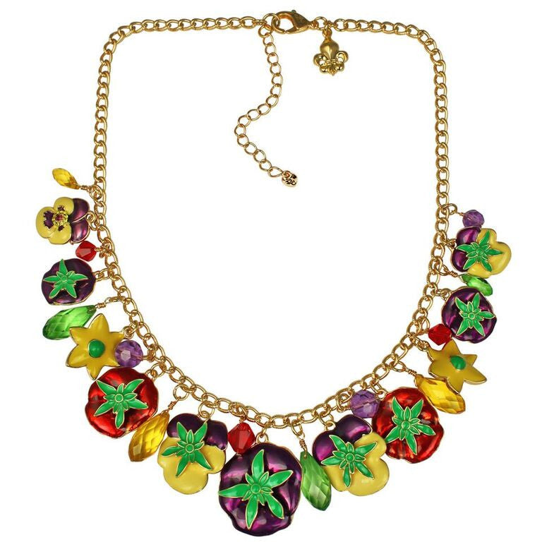 Pansy Flower Multi Color Charm Necklace Jewelry | Back Side