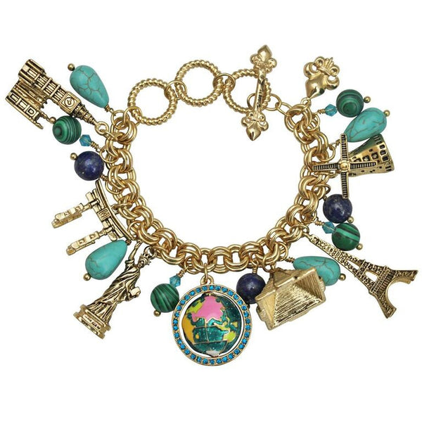 Globe World Jewelry Charm Bracelet
