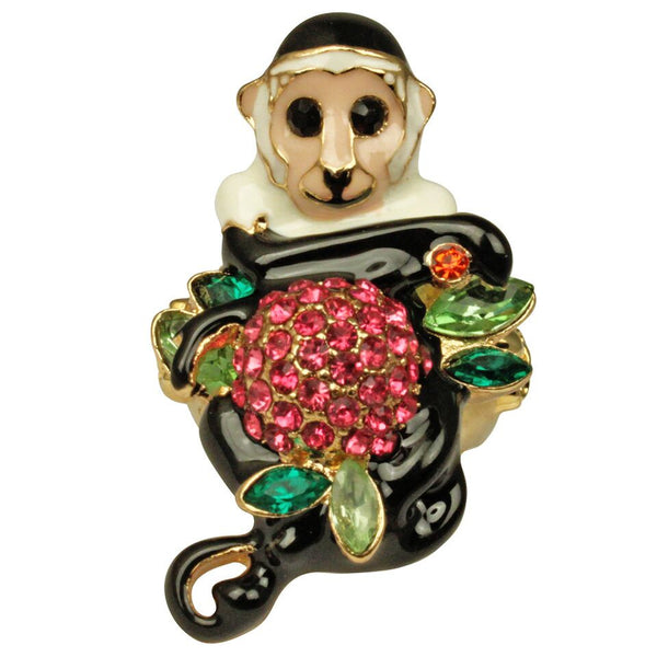 Monkey Business Multicolor Pave and Enamel Ring (Goldtone) Ritzy Couture