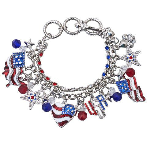 American Flag Charm Adjustable Toggle Bracelet (Silvertone) Ritzy Couture