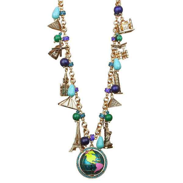 Globe World Jewelry charm necklace