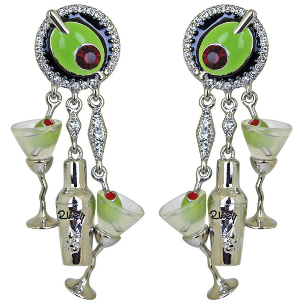 Extra Dry Left and Right Martini & Shaker Earrings (Silvertone) Ritzy Couture