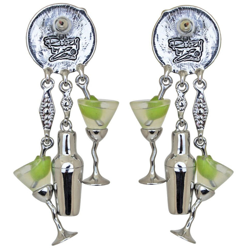Martini & Shaker Charm Earrings - Cocktail Earrings