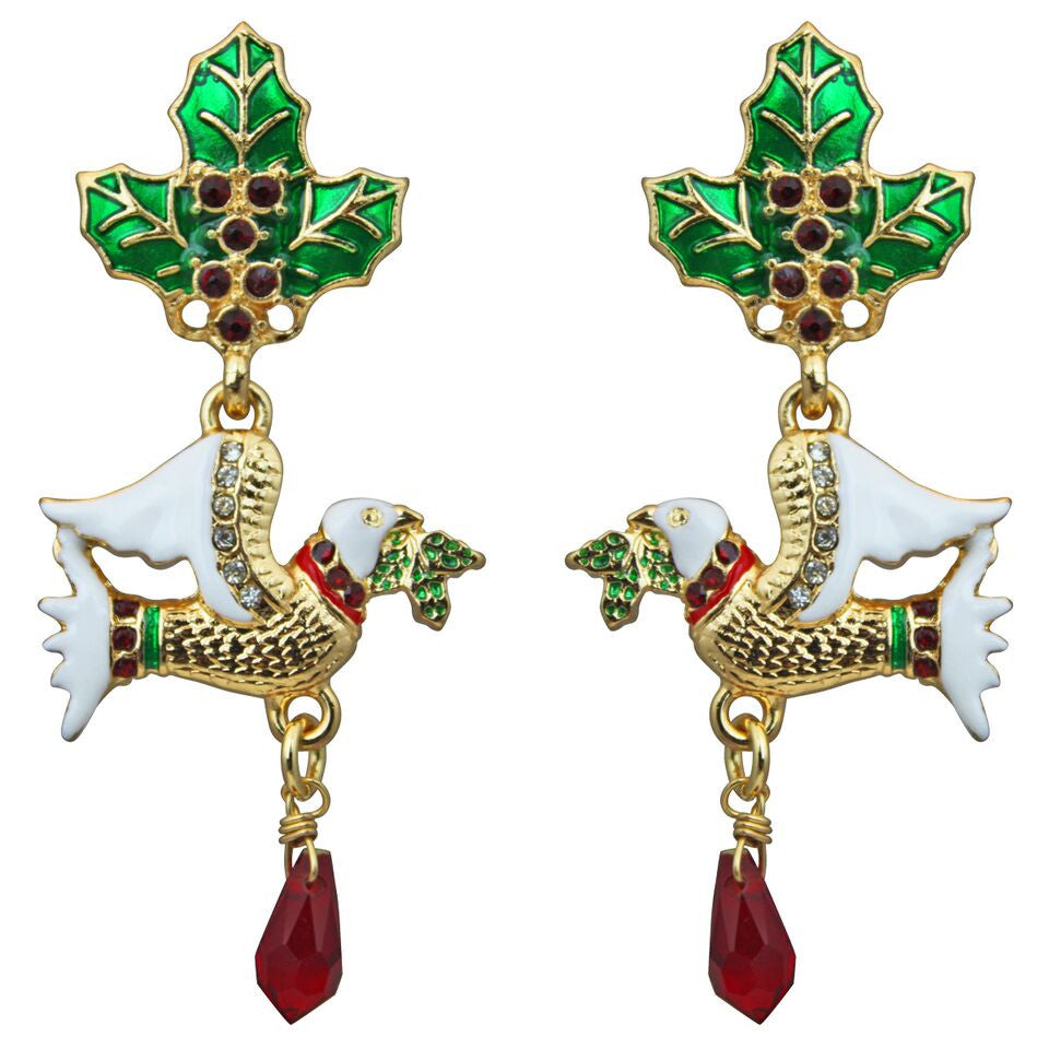 Two Turtle Doves Christmas Earrings - Christmas Jewelry