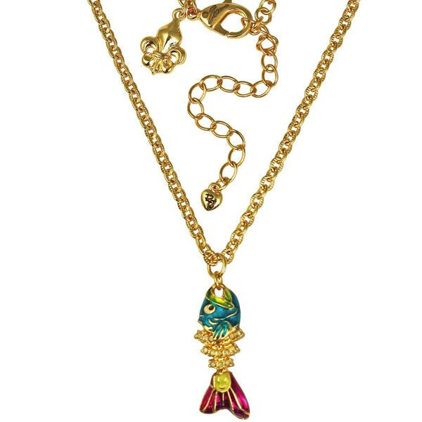 Fish Stick Fishbone Necklace (Goldtone) Ritzy Couture