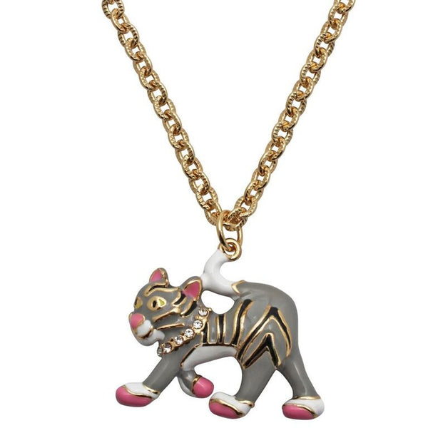 Grey Tabby Alley Cat Charm Necklace (Goldtone) Ritzy Couture