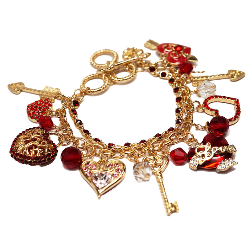 """Love Life"" Heart Charm Bracelet (Goldtone) - Bracelet For Women"