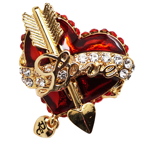 """Love Life"" Heart & Arrow Message Red Dangle Ring (Goldtone) Ritzy Couture"