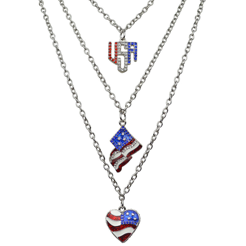 Triple Chain American Flag Necklace - American Jewelry