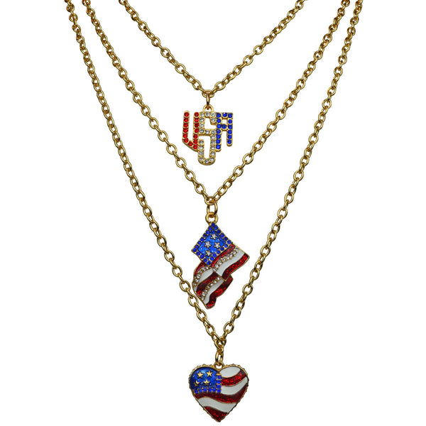 Triple Chain USA Flag Red White & Blue Enamel Charm Pendant Necklace Sets (Goldtone) Ritzy Couture