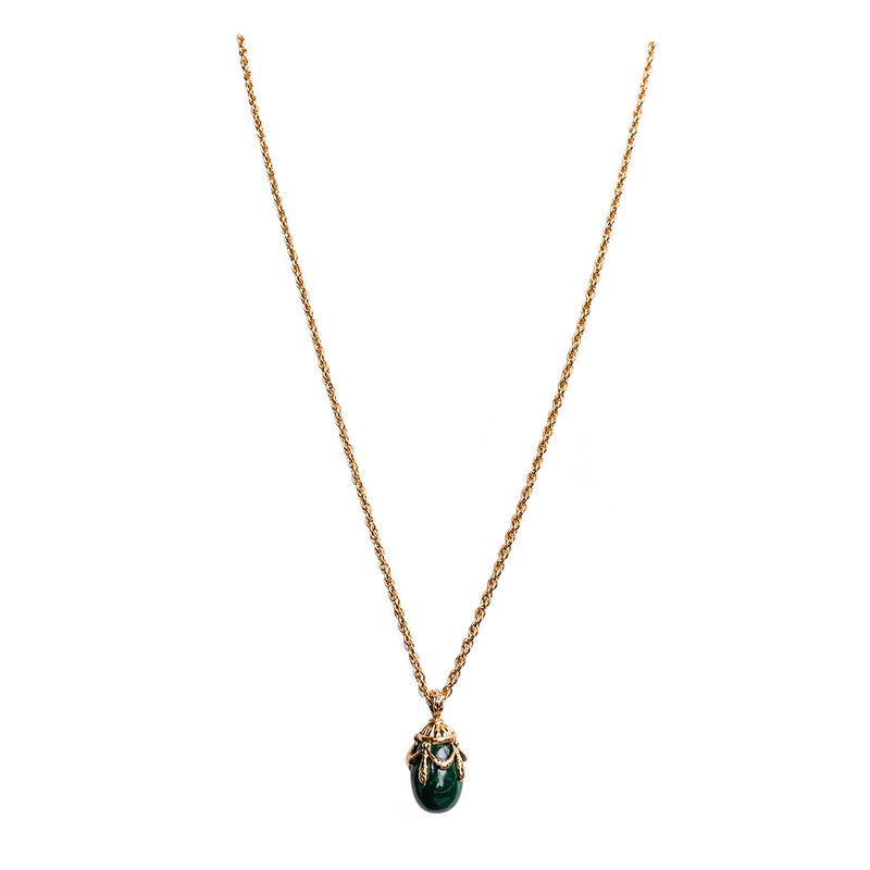 Malachite Egg Charm Pendant Necklaces