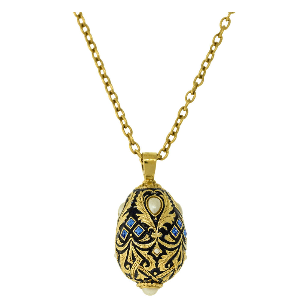 Jumbo Sapphire Gem Egg Charm Pendant Necklaces For Women