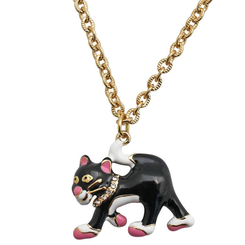 Black & White Cat Charm Necklace | Cat Necklace Jewelry