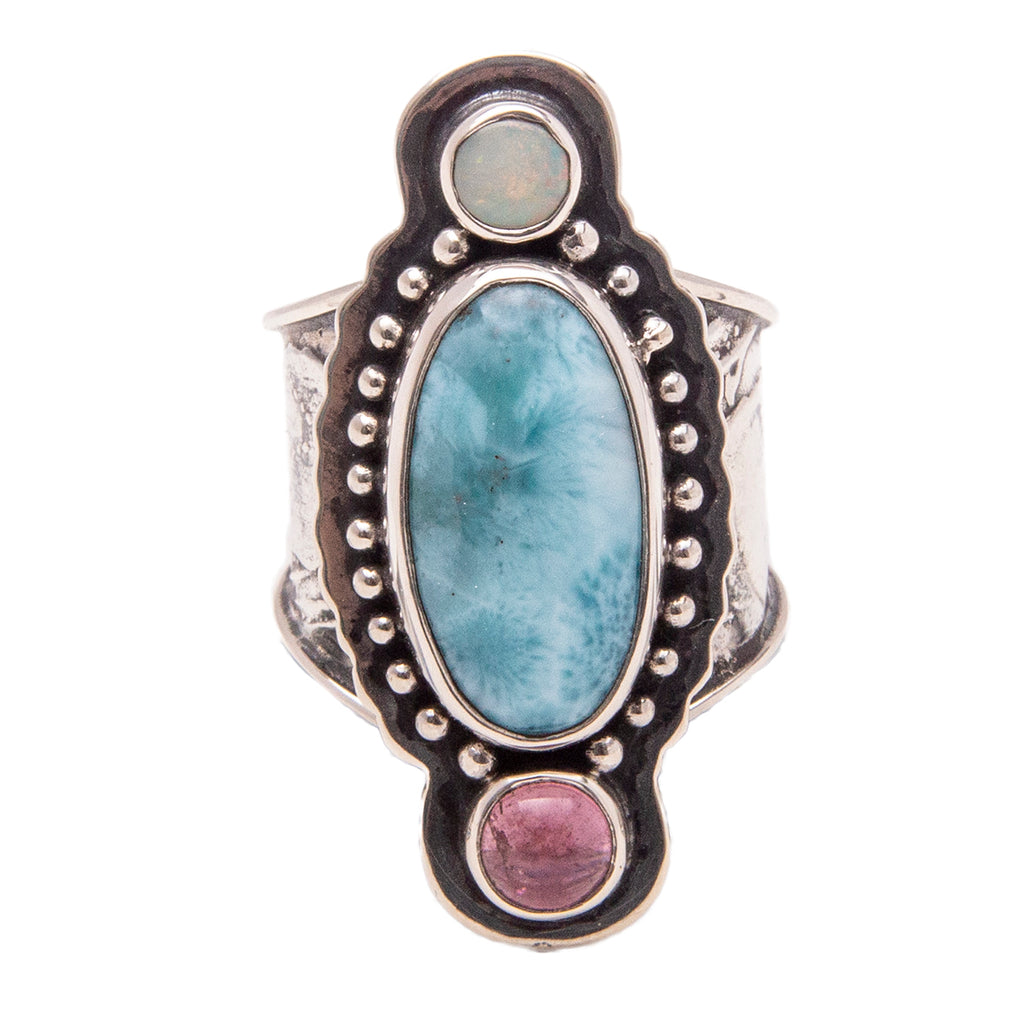 Tabra Jewelry - Sterling Silver Pink Larimar Opal Ring
