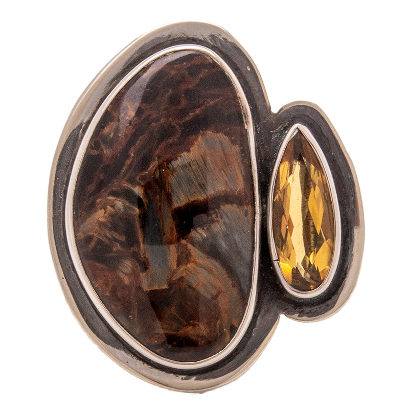 Tabra Jewelry - Sterling Silver Pietersite & Citrine Ring