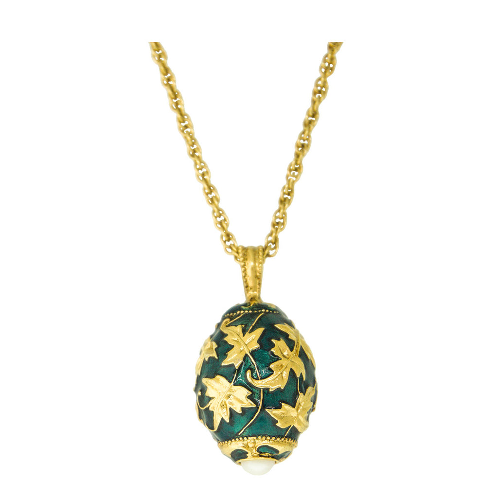 Egg Charm Pendant Necklace In Emerald Green Gold Leaf