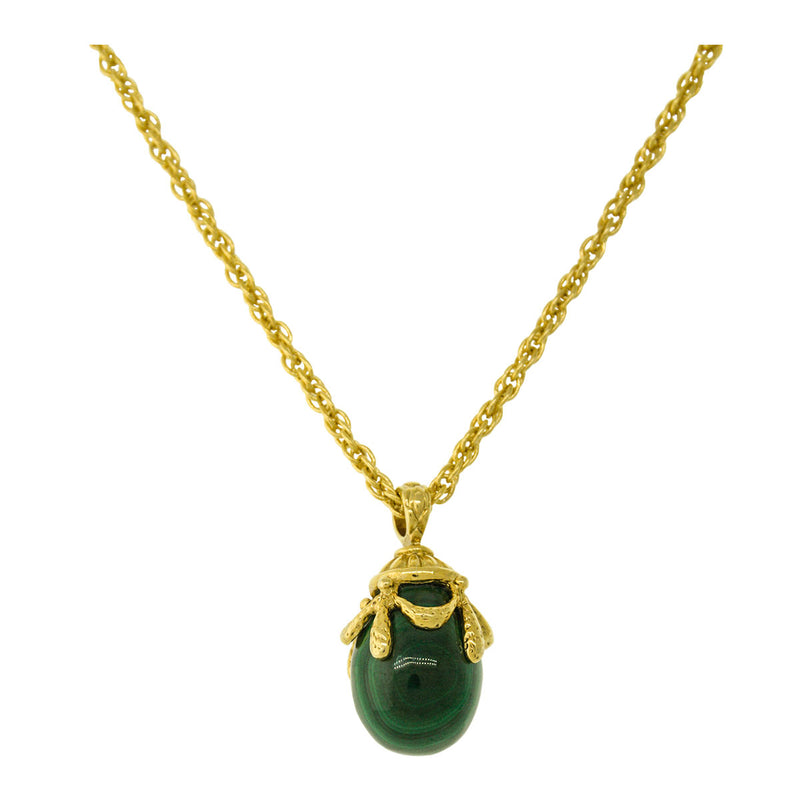 Malachite Egg Charm Pendant Necklaces For Women