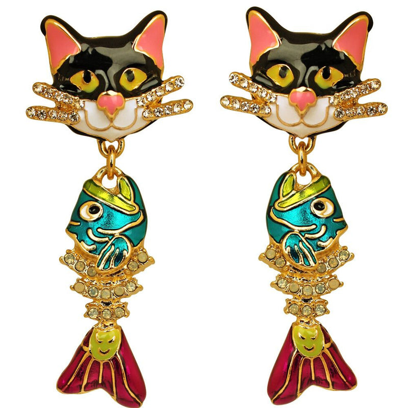 Alley Cat & Fishbone Charm Earrings - Jewelry Earrings