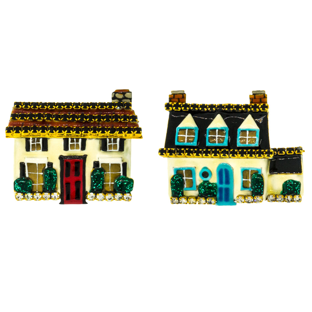 House Shaped Clip Earrings - Lunch At The Ritz Earrings