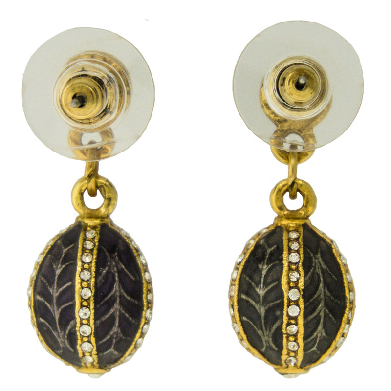 Faberge Inspired Dove Grey Egg-shaped Earrings - Back