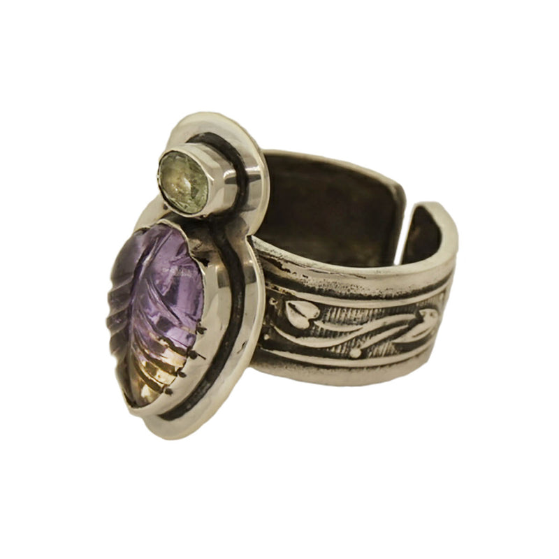 Tabra Jewelry - Sterling Silver Carved Amethyst Ring - Side View