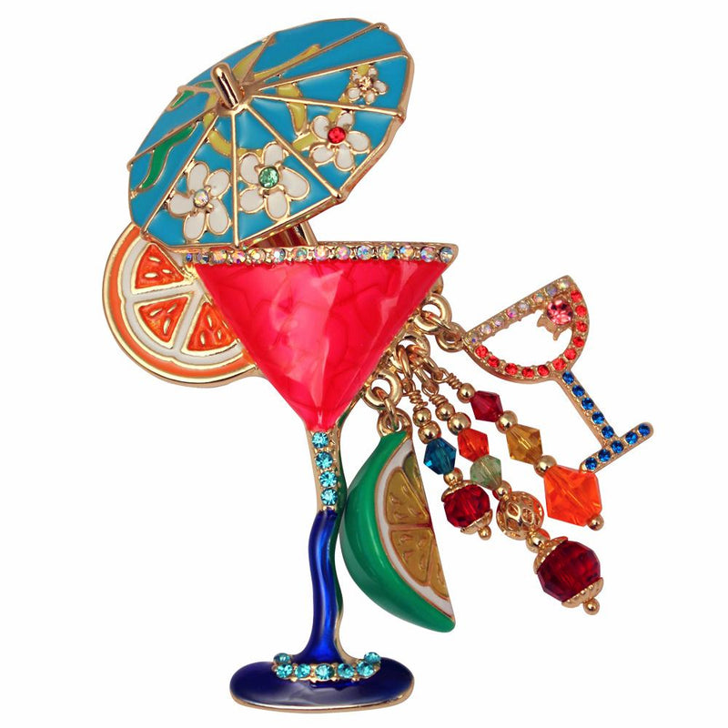 Ritzy Couture Pool Party Red Cosmo Cocktail Pin/Pendant (Goldtone) - Multicolor