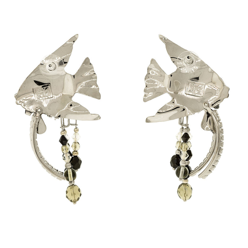 Lunch At The Ritz Silvertone Angel Fish Earrings Backside