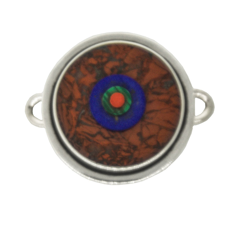 Tabra Jewelry - Silver Red Jasper Amonite Connector Charm