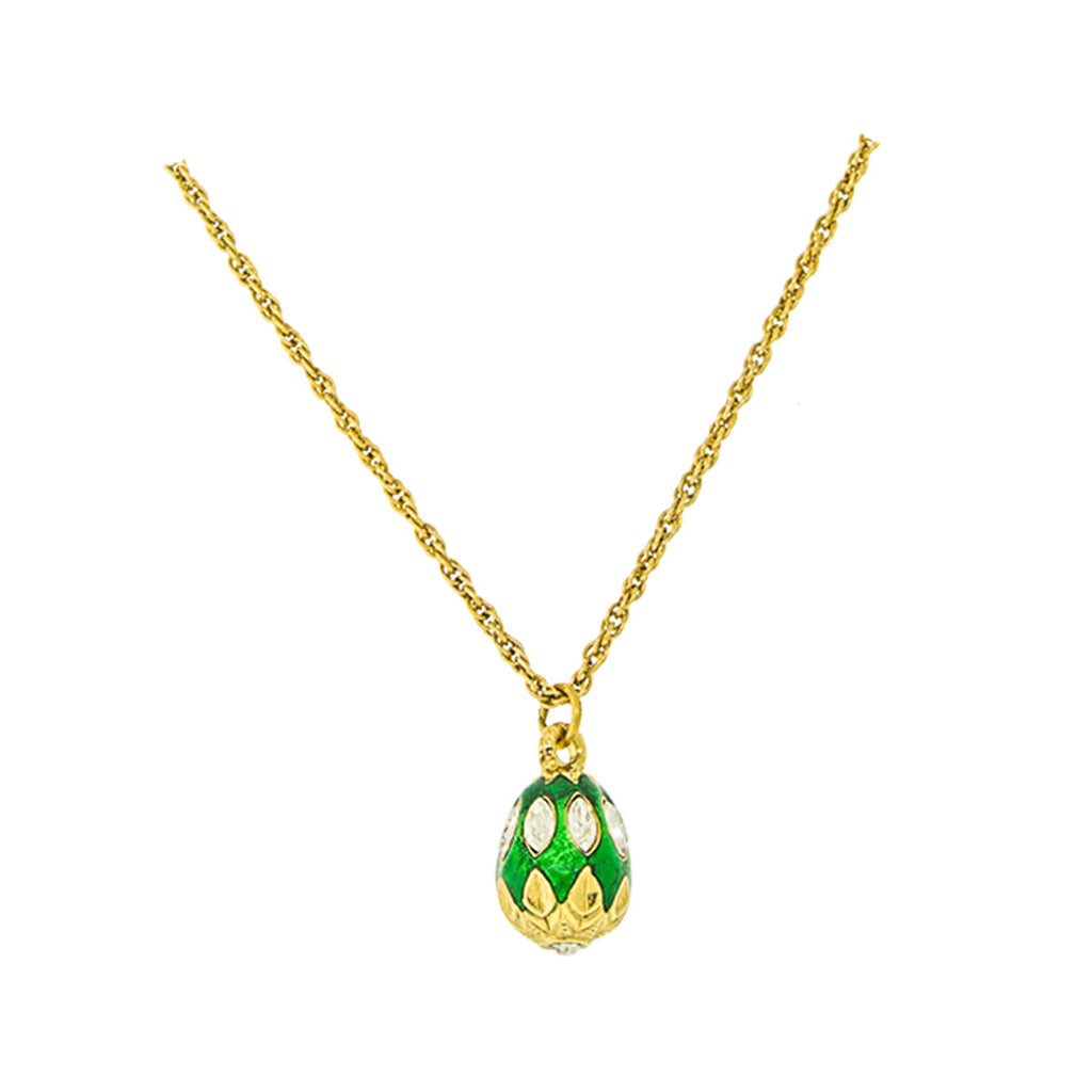 "Ritzy Couture Emerald Green Swarovski Crystal Egg Charm Necklace 18"" with 3"" Extender (Goldtone)"