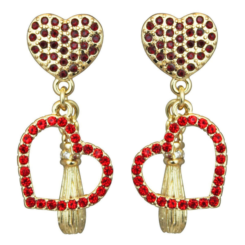 Heart Pave Charm Earrings - Heart Dangle Earrings