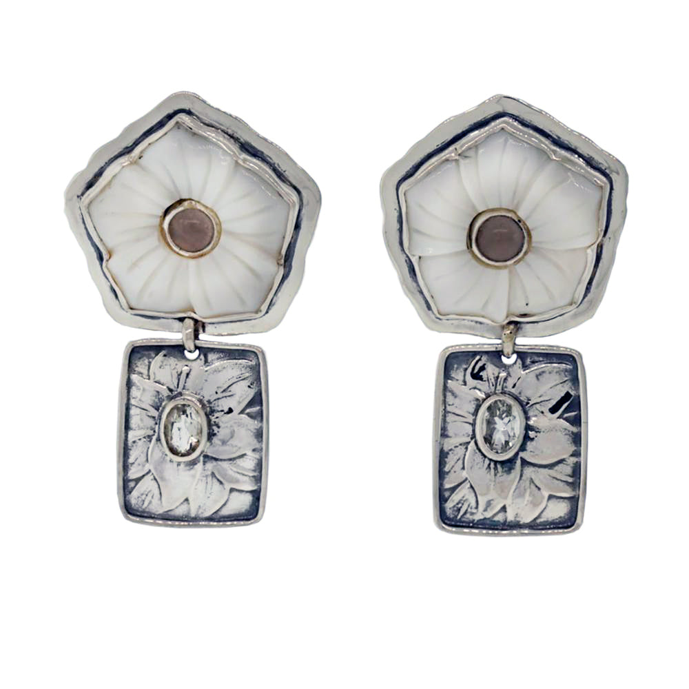 Tabra Jewelry 925 Sterling Silver, Mother of Pearl and Sky Blue Topaz Post Earring Rare from Esme's Vault OOK400