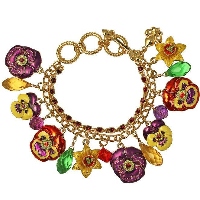 Multi Color Pansy Charm Bracelet - Bracelets For Women