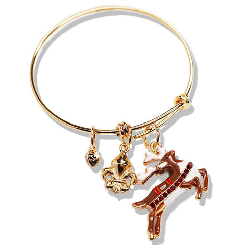 """Christmas Reindeer"" Adjustable Bangle Stackable Bracelet (Goldtone) Ritzy Couture"