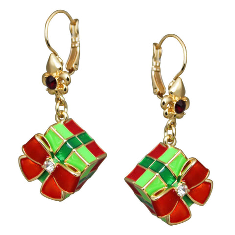 Christmas Gift Box Dangle Earrings | Christmas Earrings