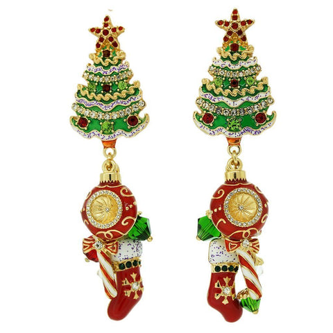 """Merry Christmas"" Christmas Tree Ornament Charm Chandelier Earrings (Goldtone) Ritzy Couture"