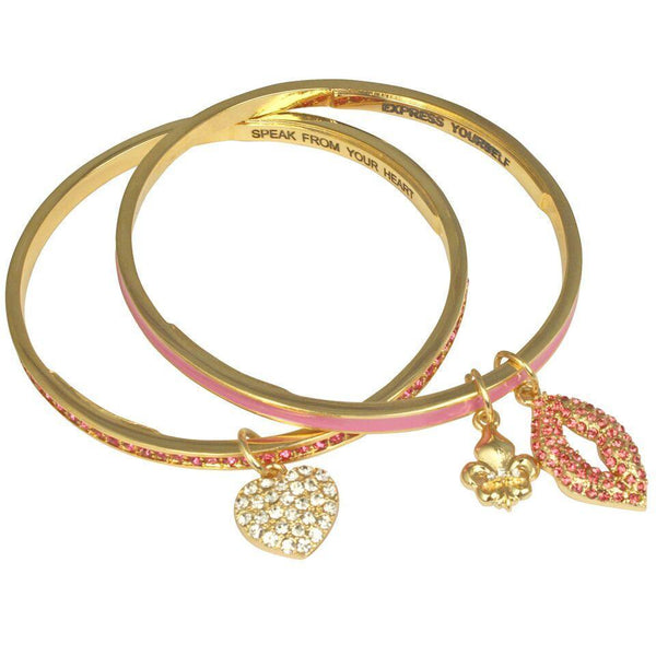 Set of Two Lips & Heart Bangle Bracelets (Goldtone) Ritzy Couture