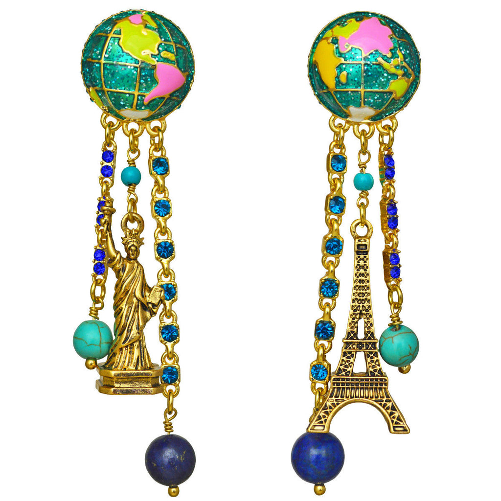 """We Are the World"" Eiffel Tower & Statue of Liberty Earrings"