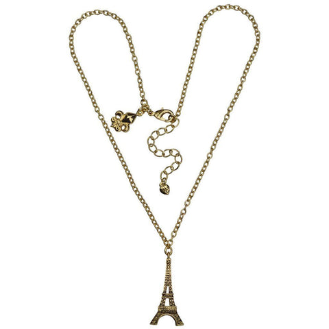 """Pretend You're French"" Paris Eiffel Tower Travel 20"" Necklace with 3"" Extender (Antique Goldtone) Ritzy Couture"