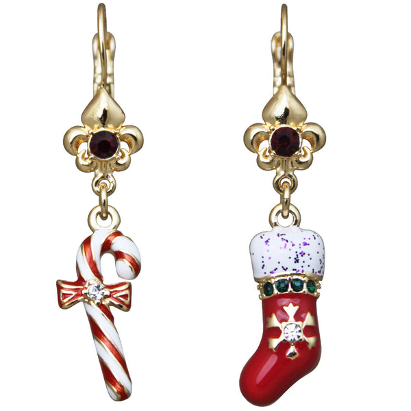 Candy Cane and Christmas Stocking Dangle Leverback Earrings (Goldtone) Ritzy Couture