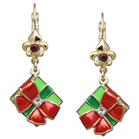 """Merry Christmas"" Gift Box Dangle Leverback Earrings (Goldtone) Ritzy Couture"