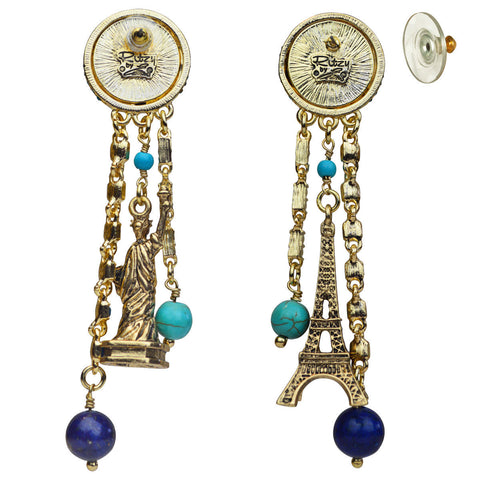"""We Are the World"" Travel Eiffel Tower & Statue of Liberty Earrings (Goldtone) Ritzy Couture"