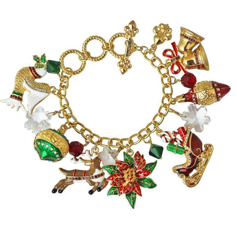 """Twas the Night"" Christmas Adjustable Toggle (goldtone) Bracelet Ritzy Couture"