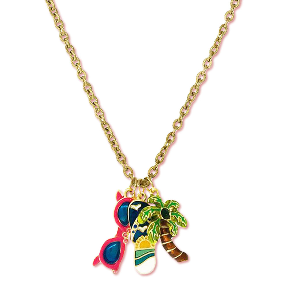 Flip Flop Sunglasses Summer Fun Charm Necklace Ritzy Couture