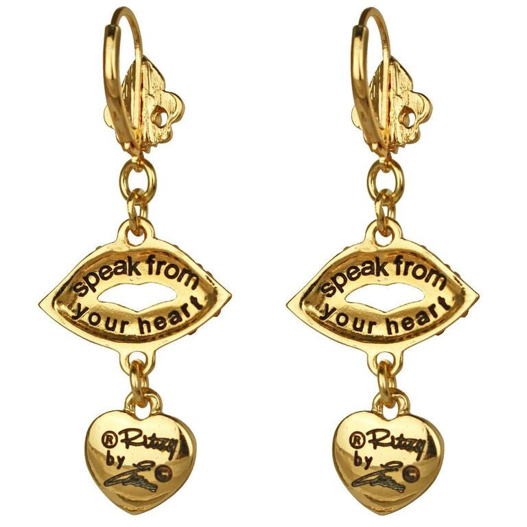 Lips & Heart Dangle Leverback Earrings | Back Side